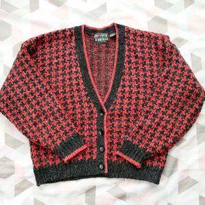 VTG Paris Sport Club Houndstooth Cardigan Sweater